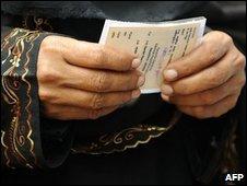 Woman voter in Calcutta
