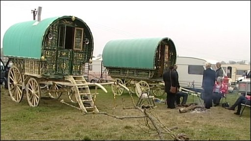 Gypsy caravans at Stow Horse Fair