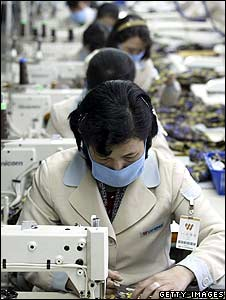 North Korean workers at a textile factory in Kaesong