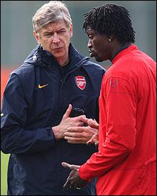 Arsene Wenger and Emmanuel Adebayor