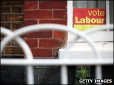 Vote Labour sign in window