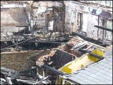 Damage due to fire at Gurdwara Sikh Sangat