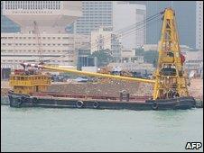 Ship docking in Hong Kong