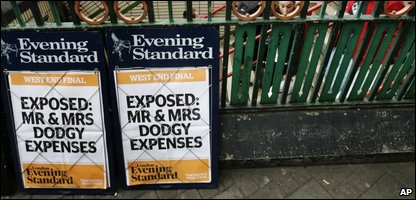 Newspaper billboard on &quot;Mr and Mrs Dodgy Expenses&quot; 