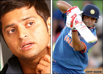 India's Suresh Raina in action