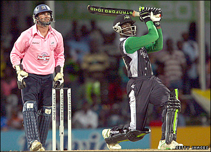 Andre Fletcher hits a six against Middlesex in Antigua