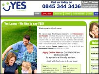 The Yes Loans website