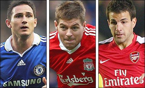 Chelsea's Frank Lampard, Liverpool's Rafael Benitez and Arsenal's Cesc Fabregas