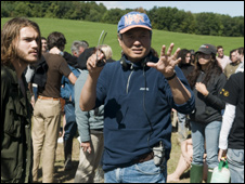 Ang Lee on the set of Taking Woodstock