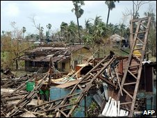 Damage caused by Hurricane Nargis in Burma