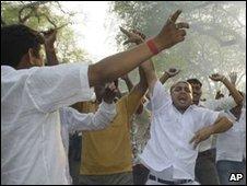 Congress supporters in Delhi