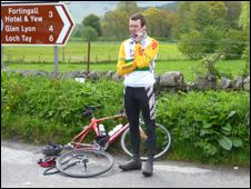 Halted cyclist