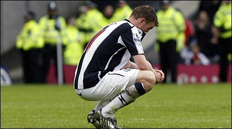 Chris Brunt contemplates West Brom's relegation from the Premier League