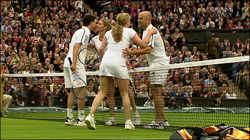 Tim Henman, Kim Clijsters, Andre Agassi and Steffi Graf