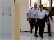Prison wardens at Styal prison reacting to an incident