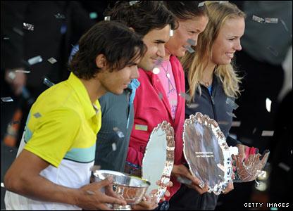 Rafael Nadal, Roger Federer, Dinara Safina and Caroline Wozniacki