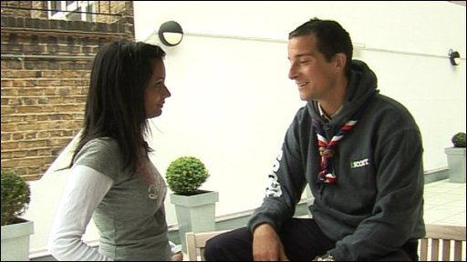 Newsround's Sonali and Bear Grylls