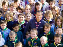 Bear Grylls with a group of Scouts
