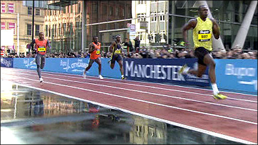 Usain Bolt winning the 150m in Manchester