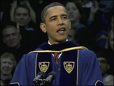 US President Barack Obama speaks at Notre Dame