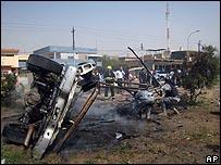 قوات عراقية في موقع انفجار سيارة مفخخة شمالي بغداد