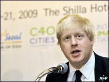 London Mayor Boris Johnson at the C40 climate change conference