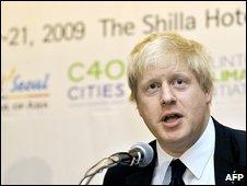 London Mayor Boris Johnson at the C40 climate change conference