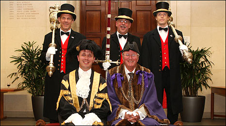 BBC Radio Norfolk's Roy Waller (bottom right) being appointed Sheriff of Norwich