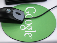 Mouse on Google mouse pad