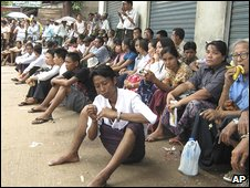Supporters of Aung San Suu Kyi gather near Insein jail in Rangoon on Monday