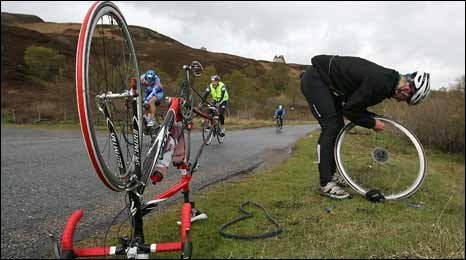 Cyclist with puncture