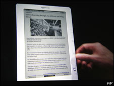 The Kindle DX, displaying a page from The New York Times