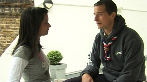 Sonali with Bear Grylls