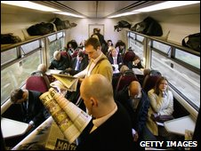 A crowded train carriage