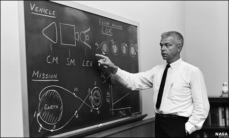 John C Houbolt at blackboard (Nasa)
