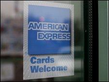 An American Express sign