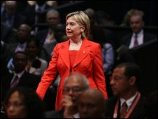 US Secretary of State Hillary Clinton arrives at the opening of the 5th Summit of the Americas in Port of Spain, on April 17, 2009