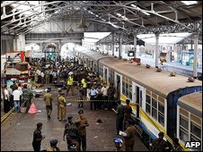 Aftermath of a suicide bombing at Colombo station blamed on Tamil Tigers, February 2008