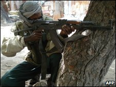 An Islamist fighter in Mogadishu on 16 May 2009