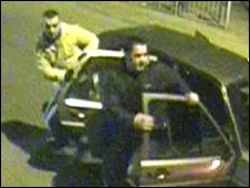 CCTV still showing two alleged attackers getting out of a car to take part in alleged beating of man in Tbilisi