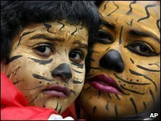 Supporters of the Tigers show solidarity in London by painting their face as Tigers in London