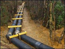 A pipeline near Cwm Rheidol Mine