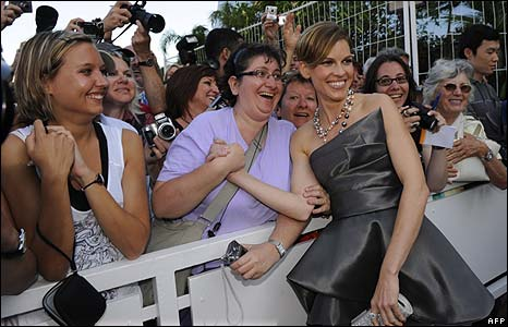 Hilary Swank with her Cannes fans