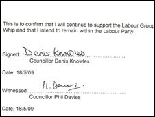 Official declaration to Labour Party