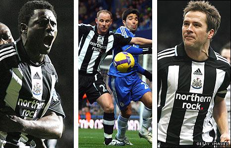 Obafemi Martins, Nicky Butt and Michael Owen