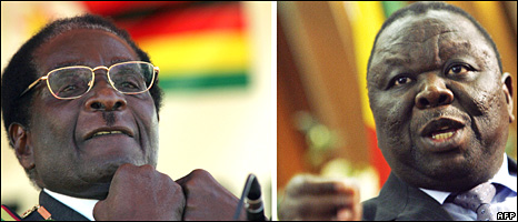 Zimbabwean President Robert Mugabe (left) and Prime Minister Morgan Tsvangirai
