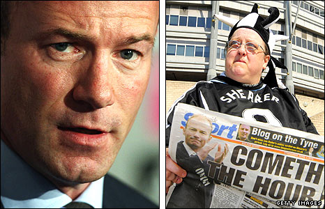 Alan Shearer (left) and fan