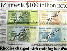 A Zimbabwean government daily newspaper unveils the new hundred trillion dollar note on 16 January 2009