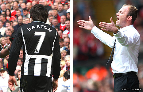 Joey Barton (left) and Alan Shearer