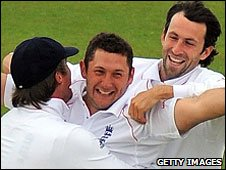 Tim Bresnan (centre) played both Tests against West Indies